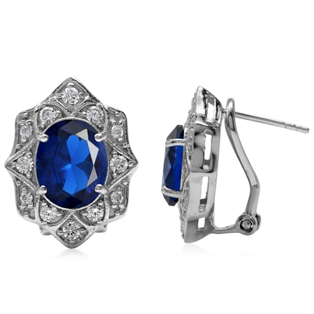 Synthetic Sapphire Blue White Gold Plated 925 Sterling Silver Flower Omega Clip Post Earrings