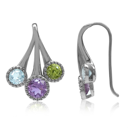 Natural Amethyst, Peridot & Blue Topaz White Gold Plated 925 Sterling Silver Hook Earrings