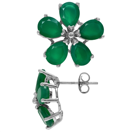 6.4ct. Natural Emerald Green Agate White Gold Plated 925 Sterling Silver Flower Post Earrings