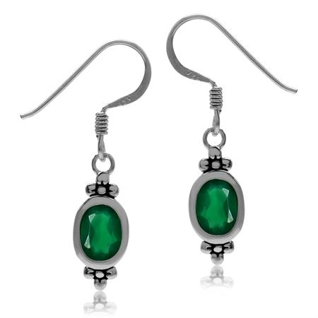 1.44ct. Natural Emerald Green Agate 925 Sterling Silver Flower Dangle Hook Earrings