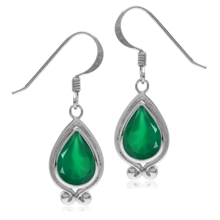 3.42ct. Natural Emerald Green Agate White Gold Plated 925 Sterling Silver Drop Dangle Hook Earrings