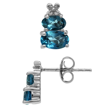 1.66ct. Extra Petite Genuine London Blue Topaz 925 Sterling Silver Flower Stud/Post Earrings