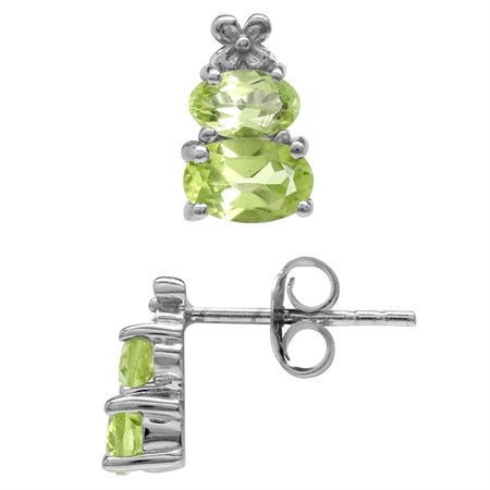 1.46ct. Extra Petite Natural Peridot White Gold Plated 925 Sterling Silver Flower Stud/Post Earrings