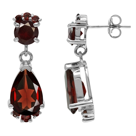 8.24ct. Natural Garnet White Gold Plated 925 Sterling Silver Drop Dangle Post Earrings