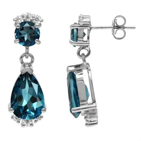 8.82ct. Genuine London Blue Topaz White Gold Plated 925 Sterling Silver Drop Dangle Post Earrings