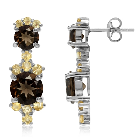 5.3ct Natural Round Shape Smoky Quartz & Citrine White Gold Plated 925 Sterling Silver Post Earrings