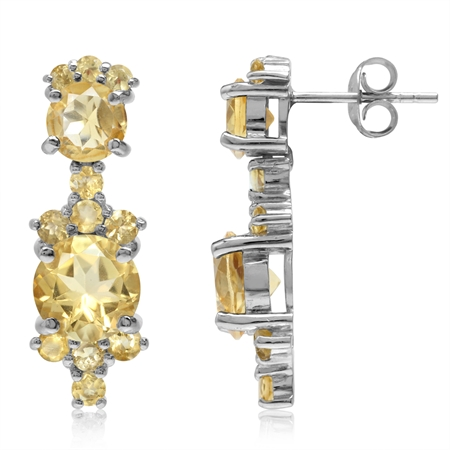 6.5ct. Natural Round Shape Citrine White Gold Plated 925 Sterling Silver Post Earrings