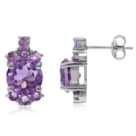 4.36ct. 8MM Natural Round Shape Amethyst White Gold Plated 925 Sterling Silver Post Earrings