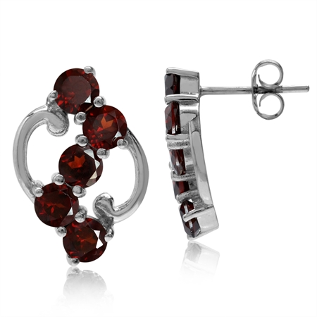 3.4ct. 5-Stone Natural Garnet White Gold Plated 925 Sterling Silver Post Earrings