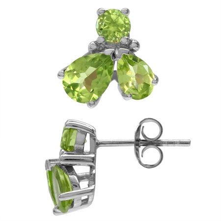 3.08ct. Petite Natural Peridot White Gold Plated 925 Sterling Silver Stud/Post Earrings