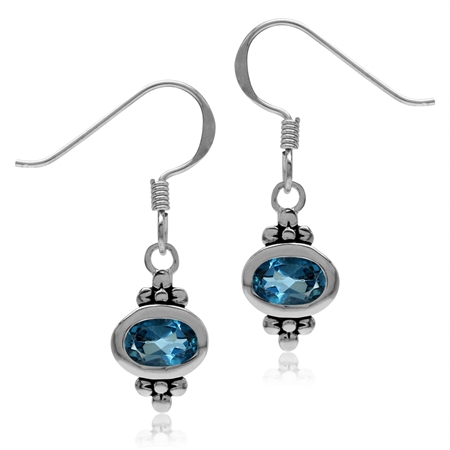 1.12ct. 6x4MM Genuine Oval Shape London Blue Topaz 925 Sterling Silver Flower Dangle Hook Earrings