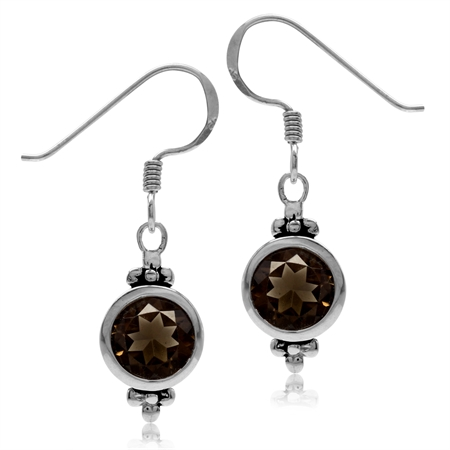 2.22ct. 7MM Natural Round Shape Smoky Quartz 925 Sterling Silver Flower Dangle Hook Earrings