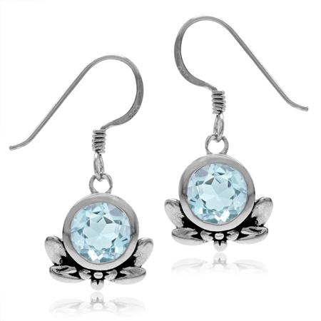3.16ct. 7MM Genuine Round Shape Blue Topaz 925 Sterling Silver Flower & Leaf Dangle Hook Earrings