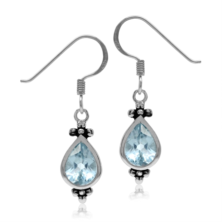2.76ct. 8x6MM Genuine Pear Shape Blue Topaz 925 Sterling Silver Flower Dangle Hook Earrings