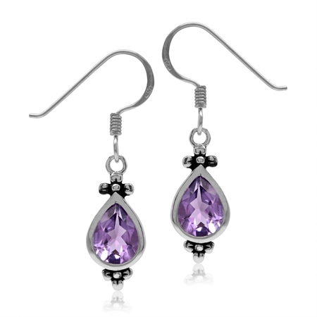 2.02ct. 8x6MM Natural Pear Shape Amethyst 925 Sterling Silver Flower Dangle Hook Earrings