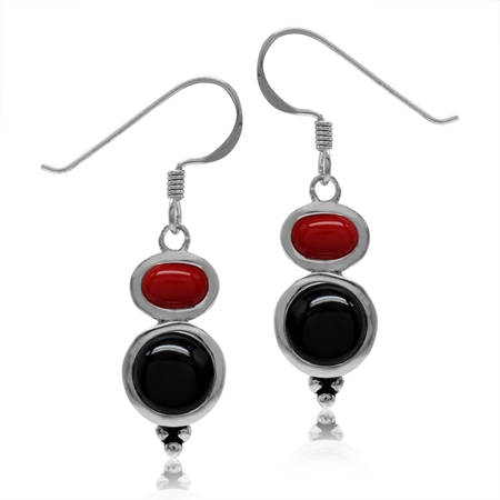 Created Black Onyx & Red Coral 925 Sterling Silver Dangle Hook Earrings