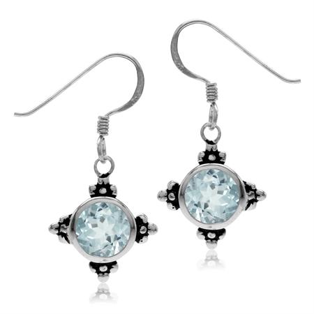 3.22ct. 7MM Genuine Round Shape Blue Topaz 925 Sterling Silver Flower Dangle Hook Earrings
