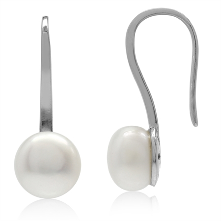 8MM Cultured Freshwater Pearl White Gold Plated 925 Sterling Silver Hook Earrings