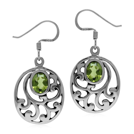 Natural Oval Peridot 925 Sterling Silver Filigree Southwest Inspired Dangle Earrings