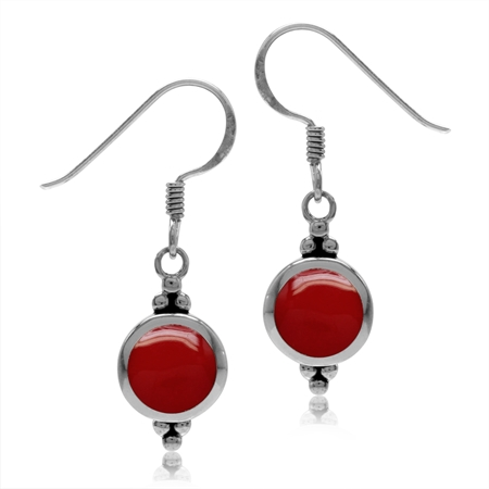 7MM Round Shape Created Red Coral Inlay 925 Sterling Silver Dangle Hook Earrings