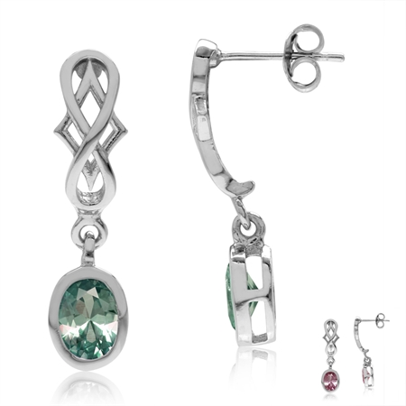 Simulated Color Change Alexandrite 925 Sterling Silver Filigree Infinity Knot Dangle Post Earrings