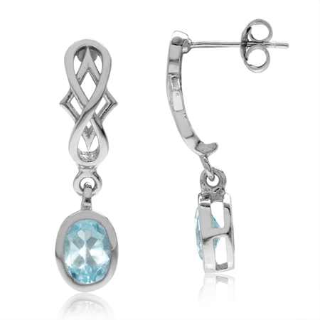 2.2ct. Genuine Oval Shape Blue Topaz 925 Sterling Silver Filigree Infinity Knot Dangle Post Earrings