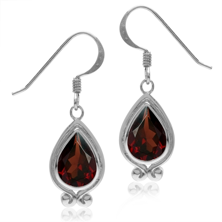 4.28ct. Natural Garnet White Gold Plated 925 Sterling Silver Drop Dangle Hook Earrings