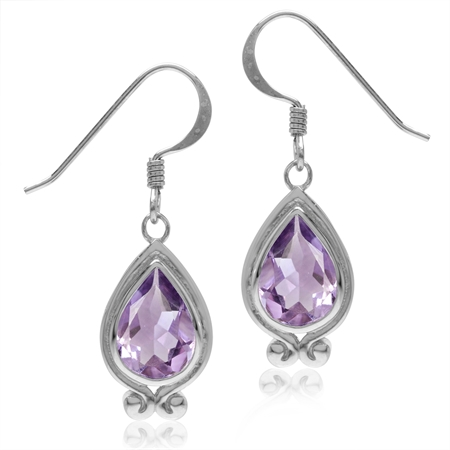 3.18ct. Natural Amethyst White Gold Plated 925 Sterling Silver Drop Dangle Hook Earrings