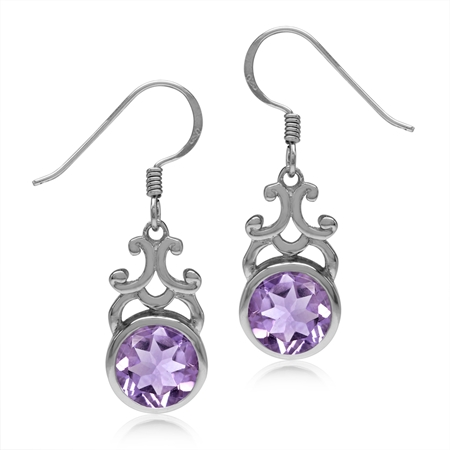 3.52ct. 8MM Natural Round Shape Amethyst 925 Sterling Silver Filigree Swirl Dangle Hook Earrings