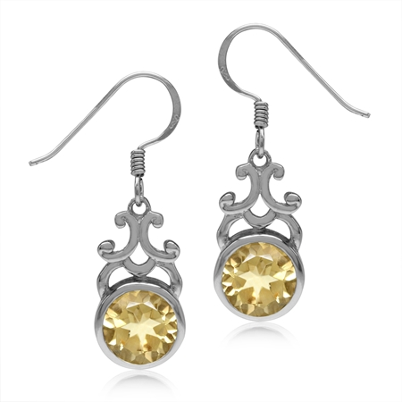 3.84ct. 8MM Natural Round Shape Citrine 925 Sterling Silver Filigree Swirl Dangle Hook Earrings