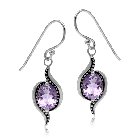 2.26ct. Natural Oval Shape Amethyst 925 Sterling Silver Bali/Balinese Style Dangle Hook Earrings