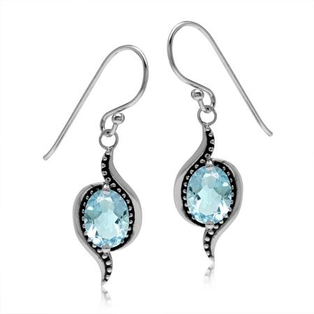 2.98ct. Genuine Oval Shape Blue Topaz 925 Sterling Silver Bali/Balinese Style Dangle Hook Earrings