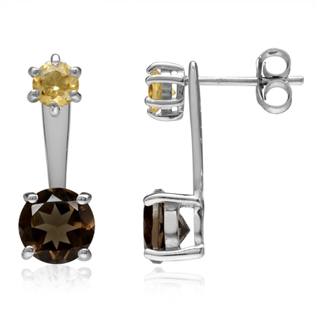 Natural Round Shape Smoky Quartz & Citrine 925 Sterling Silver 2-Way Stud & Ear Jacket Earrings