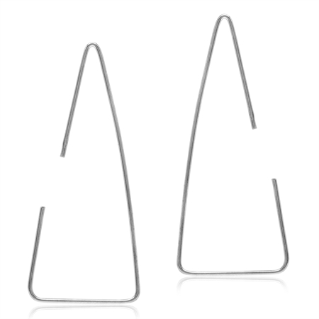 Minimalist Gold Plated 925 Sterling Silver Triangle Hoop Skinny Wire Earrings