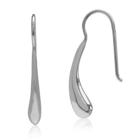 White Gold Plated 925 Sterling Silver Drop Shape Hook Earrings