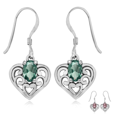 Simulated Color Change Alexandrite 925 Sterling Silver Southwest Style Filigree Heart Earrings