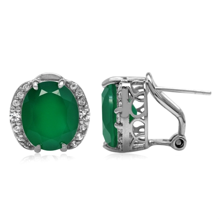7.96ct. 12x10MM Natural Oval Shape Emerald Green Agate 925 Sterling Silver Omega Clip Post Earrings