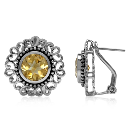 3.84ct. 8MM Natural Round Citrine 925 Sterling Silver Filigree Balinese Style Omega Clip Earrings