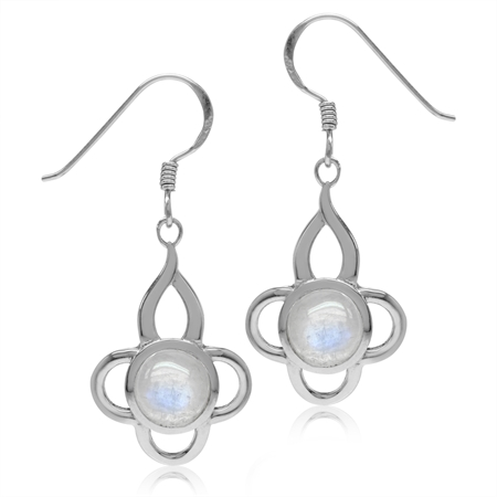 7MM Natural Moonstone White Gold Plated 925 Sterling Silver Flower Dangle Hook Earrings