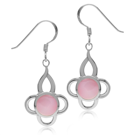 7MM Pink Mother Of Pearl Inlay White Gold Plated 925 Sterling Silver Flower Dangle Hook Earrings