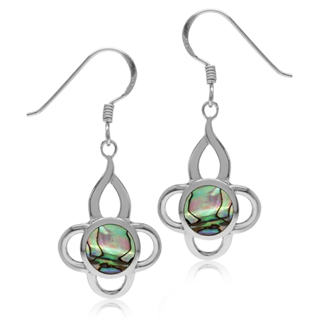 7MM Abalone/Paua Shell Inlay White Gold Plated 925 Sterling Silver Flower Dangle Hook Earrings