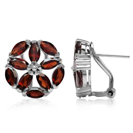 6.6ct. Natural Marquise Shape Garnet 925 Sterling Silver Flower Omega Clip Post Earrings