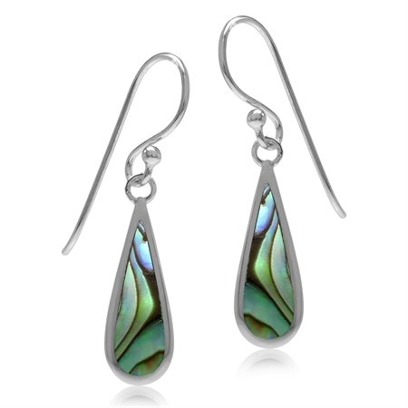 Abalone/Paua Shell Inlay White Gold Plated 925 Sterling Silver Drop Dangle Hook Earrings