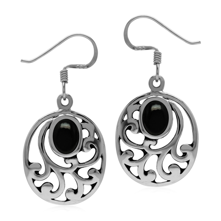 Created Oval Shape Black Onyx 925 Sterling Silver Filigree Southwest Inspired Dangle Earrings