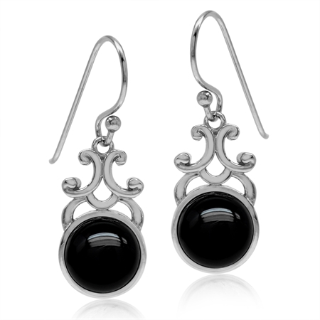 Created Black Onyx White Gold Plated 925 Sterling Silver Filigree Swirl Dangle Hook Earrings
