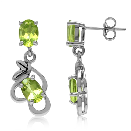 3.52ct. Natural Oval Shape Peridot 925 Sterling Silver Leaf Vintage Inspired Dangle Post Earrings