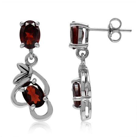 4ct. Natural Oval Shape Garnet 925 Sterling Silver Leaf Vintage Inspired Dangle Post Earrings