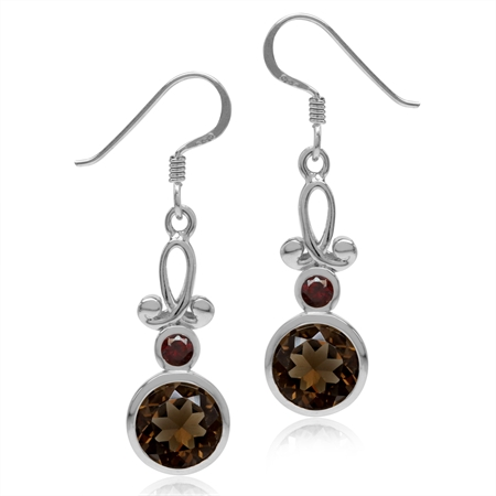 3.54ct. 8MM Natural Round Shape Smoky Quartz & Garnet 925 Sterling Silver Swirl Dangle Hook Earrings