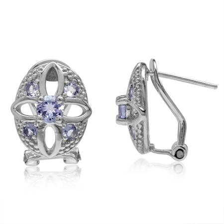 Genuine Tanzanite White Gold Plated 925 Sterling Silver Flower Omega Clip Post Earrings