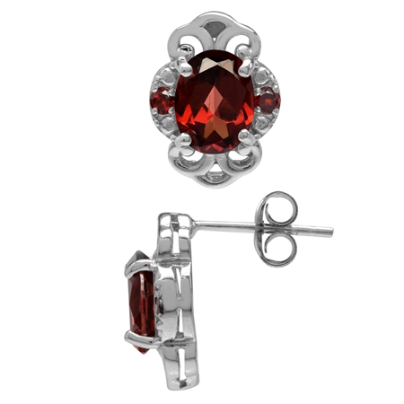 3.3ct. Natural Garnet White Gold Plated 925 Sterling Silver Filigree Post Earrings